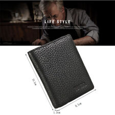 Men's Genuine Leather Bifold ID Credit Card Money Holder Wallet Black Fashion