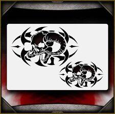 """Tribal Skull 2"" Airbrush Stencil Template Airsick"