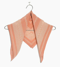 Pure Silk Women Square Scarves Girls Head Neck Kerchief Bandana Vintage Blush