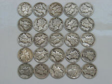 New listing All 1944P 1/2 Roll 25 Circulated Silver Mercury Dimes