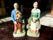 """New Listing12"""" Home Interiors """"The Harvesters"""" Porcelain Old Man and Woman Pair Free Ship!"""