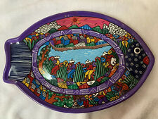 HANGING CERAMIC TROPICAL COLORFUL FISH PLATE SERVING PLATTER DECOR DISPLAY 14""