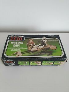 VINTAGE STAR WARS 1983 ROTJ Speeder Bike Vehicle Boxed With Instructions + Flaps