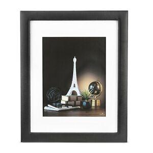 Glenor Co 11x14 Picture Frame -Carbon Fiber Design w/ Stand & Mat for 8x10 Black
