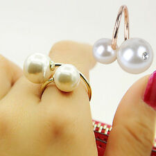 Chic Fashion Double Pearl Rhinestones Gold Opening Adjustable Ring Gift New