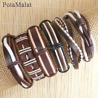 PotaMalat 6pcs Men jewelry leather bracelets ethnic tribal wrap hemp bangles-D43