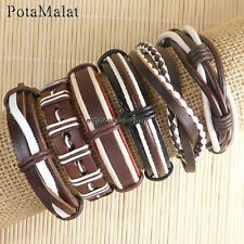 PotaMalat 6pcs Men jewelry leather bracelets ethnic tribal wrap hemp bangles-D43
