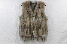 Real Rabbit Fur Vest Womens Gilet Knitted Rabbit Fur Vest Waistcoat Warm