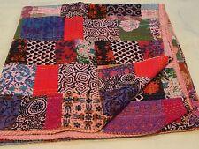 Indian kantha patchwork quilt cotton handmade boho bedspread queen blanket throw