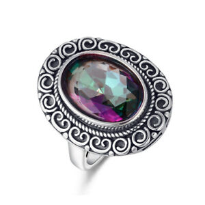 Vintage Rainbow Mystic Topaz 925 Silver Rings Women Wedding Wholesale SZ 6-10