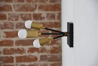 Semi Flush Ceiling Light Black & Brass Mid Century Modern Industrial Sputnik