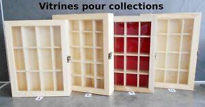 vitrine murale avec porte pour collection, fèves, miniatures ,dés, 4 modèles