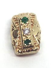 14k Yellow Gold Slide Bracelet Charm ~ Emeralds  & Diamonds ~ Glatter