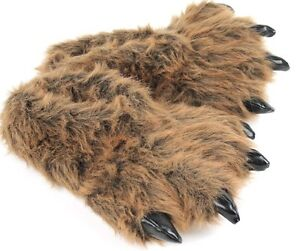 Grizzly Bear Paw Slippers - Furry Animal Feet Claw Slippers for Men and Women