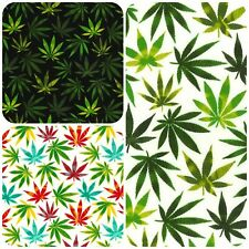 100% Cotton Poplin Fabric Rose &Hubble Hemp Leaf Plant Print Ganja Cannabis Weed