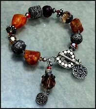 Sterling Silver Red / Brown Agate & Crystal Toggle Bracelet Signed Tres Jolie