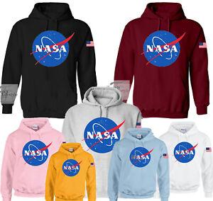 NASA SPACE LOGO PRINT USA FLAG TRENDY STYLISH HOODIES 7 COLORS 5 SIZES AVAILABLE