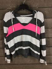 Style & Co 351 Grey Pink Striped Cropped Hoodie Women's PL
