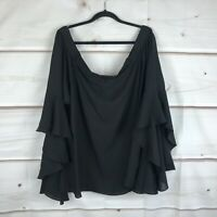 City Chic Womens XL Romantic Sleeve Blouse Off The Shoulder Top Black Size 22