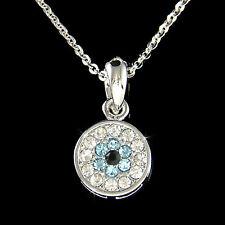w Swarovski Crystal Aqua Jewish Judaism ~Evil Eye Guardian~ Flower Necklace NEW