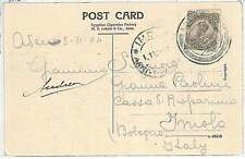 POSTAL HISTORY  - ADEN : INDIAN STAMP used in ADEN on POSTCARD to ITALY