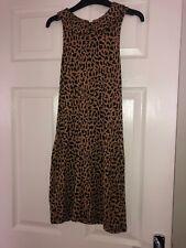 Glamorous Size 8 Dress Leopard Animal Print Peter Pan Collar Sleeveless Mini
