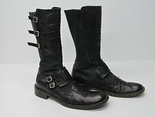 GOFFREDO FANTINI ITALY MID-CALF MOTORCYCLE BOOTS BLACK LEATHER Sz WOMEN'S 39.5