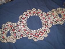 Vintage rare Handmade Cotton Crochet Lace Collar Ecru