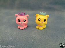2 Squinkies Princess Cat Animal Replacement Figures Pink & Yellow