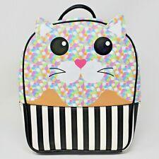 Betsey Johnson Kitty Cat Backpack Black Stripes Confetti Kitty Book Bag