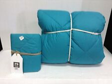 Pottery Barn Teen Reversible Mini Dot Comforter Quilt Twin Sham Std Sea Blue