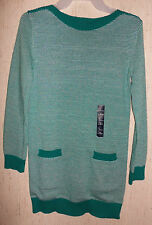 NWT GIRLS GapKids GREEN & WHITE KNIT SWEATER DRESS   SIZE L