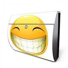 Motiv Briefkasten aus Edelstahl mit Zeitungsfach und Motiv Smile Wandbriefkasten