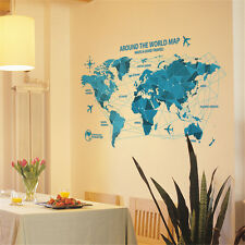 World Map Air Line Room Home Decor Removable Wall Stickers Decals Decoration