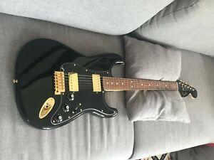 Guitare electrique Fender LTD Strat Mah Blacktop BK