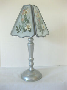 Pressed Flowers Tealight Lamp Glass Shade Silver Metal Base