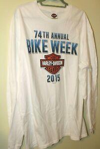 MEN'S  T-SHIRT WHITE  2XL HARLEY-DAVIDSON  BRUCE ROSSMEYER'S 74TH BIKE WEEK 2015