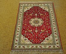 Oriental Silk Tabriz Red - Ivory Handmade Silk Carpet  Handmade Carpet 3x5