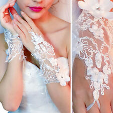 Womens White Sheer Flower Chain Gloves Wrist Wedding Lady Costume Opera Prom OS