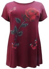 Ladies Butterfly Top Plus Size 22/24 26/28 30/32 34/36 Jersey Floral T-shirt 151