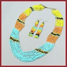 "22"" Turquoise Peach Yellow Goldtone Multi Strand Seed Bead Necklace Earrings Set"