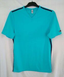 Moschino Mare Mens Light Blue V Neck Swim Tshirt with Black Stripes - Size M