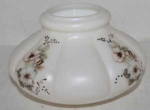Vintage Floral Hand Painted Glass Hurricane Lamp Shade Globe - EUC