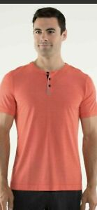 Men's Lululemon Three Hit Henley athletic T Shirt Performance stretch EUC