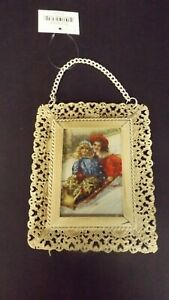 New Metal Lacey Framed Christmas Ornament Victorian Girls Sledding MWT