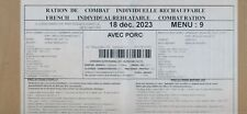 NEW ! #2023 Ration de combat  armée  Menu 9 RCIR-MRE nouvelle version 24 H 00