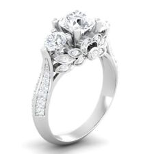 Certified 2.40Ct Three Stone Round Diamond Engagement Ring in 14K White Gold