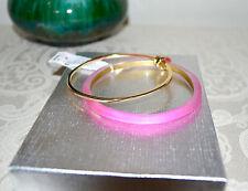 NWT $125 Alexis Bittar Bangle Pair Lucite Bracelet NEON PINK Gold Metal