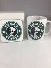 SNOOPY PERSONALISED COFFEE /TEA MUG & COASTER SET
