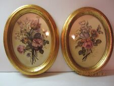 Vintage Botanical Pictures On Silk-Oval Frames-Signed-By Fleck Bros.-NY City